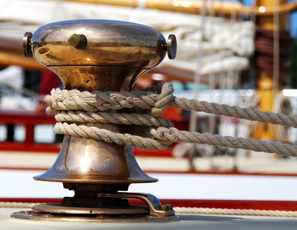 Brass Winch: Brass Winch on sailboat