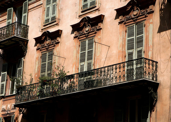 Balcony in The French Riviera: a shot of an apartment balcony in the french riviera