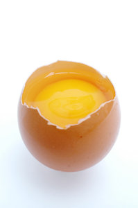 Broken egg.: A open egg.