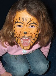Face Paint Tiger: Growl, My daughter with her face painted like a Tiger!