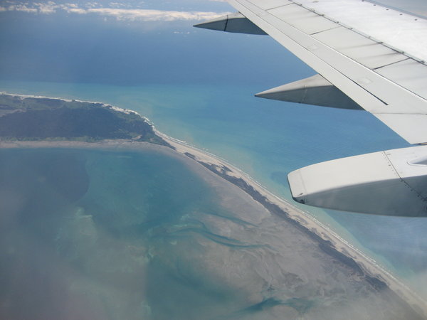tip of the south island: a northern tip of the south island of new zealand as seen out of a plane window