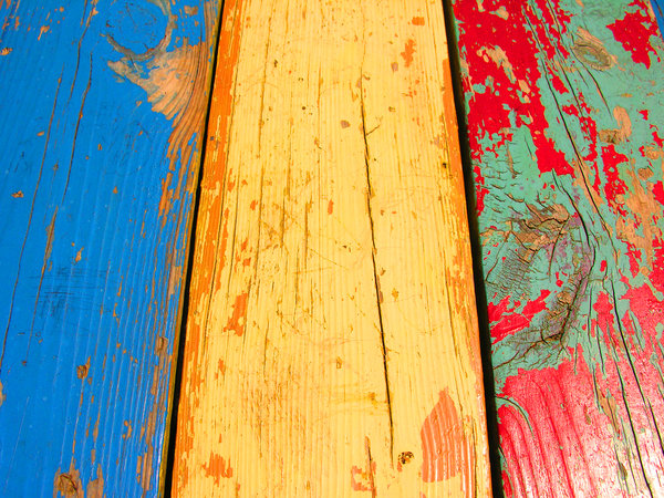 Funky Wood: I like the cool color scheme on this old funky painted wood.