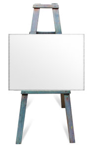 easel: artist easel with blank canvas
