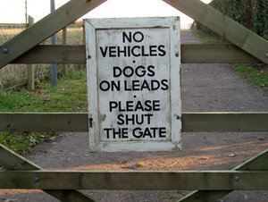 Walk this way: Notice on gate