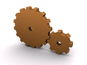 Gears: An abstract picture of 2 gears on a white background