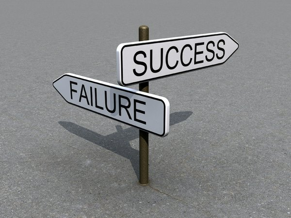 Sign: Success & Failure: An abstract picture about 2 directions to go: success & failure. Up to you to decide the right direction :)
