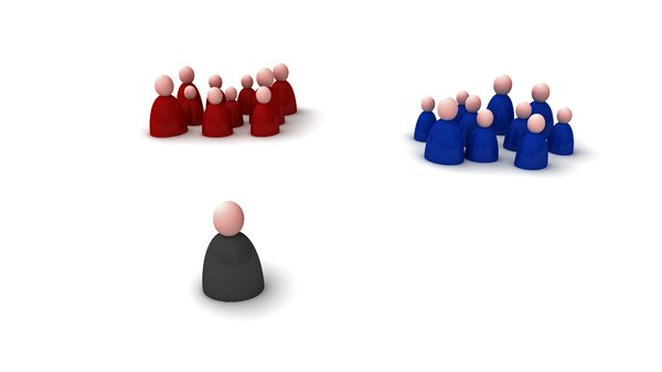 Person: Decision: An abstract picture of a person who has to make a choice between 2 different groups of people. Each group has a different color and the main person has a black color. Can be used for many situations.