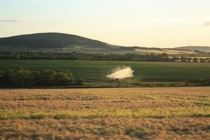 Rural landscape: Watering the fields