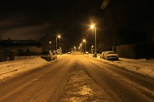 Winter street at night: A winter street scene