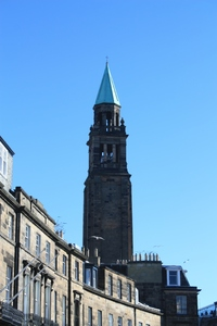Church Steeple: An Edinburgh Church Steeple against a blue winter sky (former St George's West)