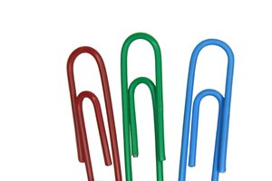 RGB Paperclips: Red green and blue paperclips macro