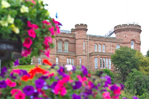 Castle framed by flowers: View of Inverness Castle, framed by flowers