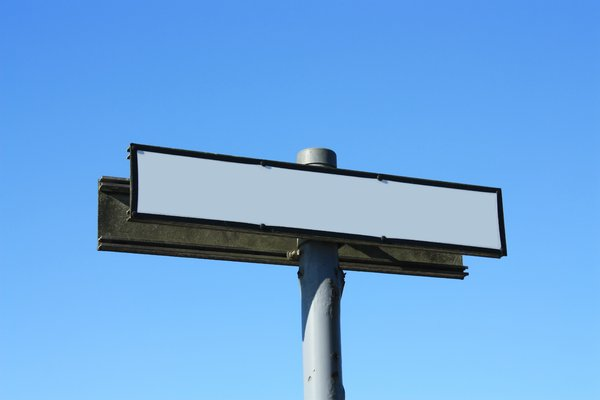 Blank Sign: Blank sign against blue sky