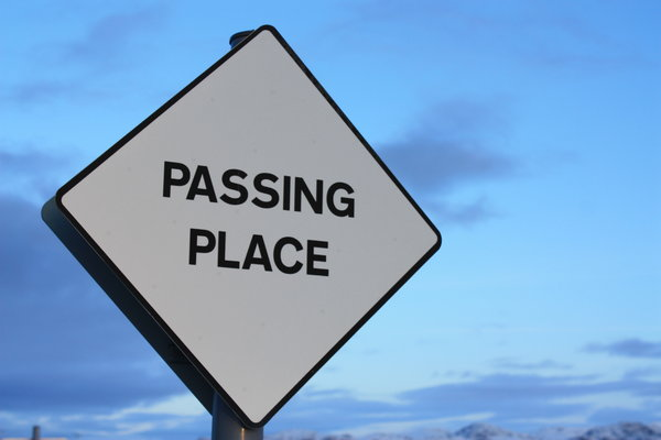 Passing place: Passing place sign from single-track road in northern Scotland