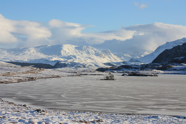 Frozen loch: A frozen loch in the Scottish Highlands