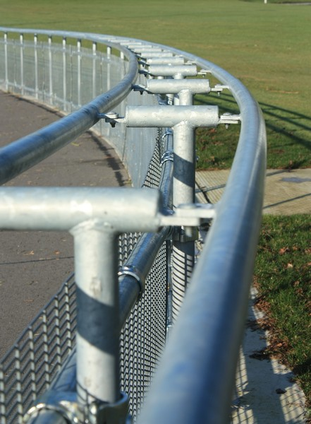 Velodrome fence: View of an outdoor cycling track