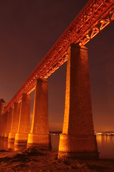 Forth Rail Bridge at night: View of the Forth Rail Bridge at night