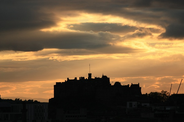 Edinburgh Castle sunset: Edinburgh Castle silhouetted against the setting sun