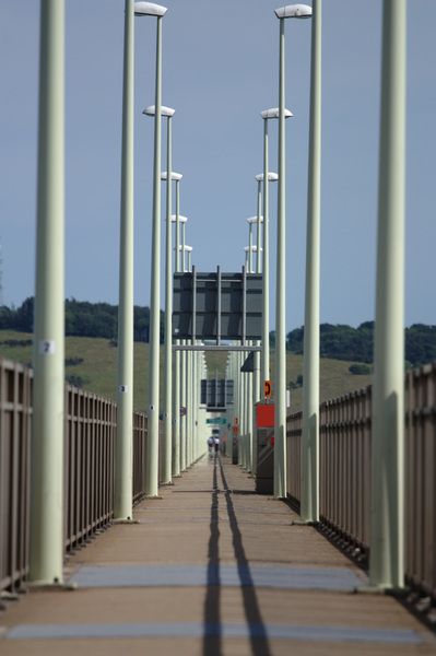 Tay Bridge: Pedestrians: The pedestrian footpath on the Tay Road Bridge