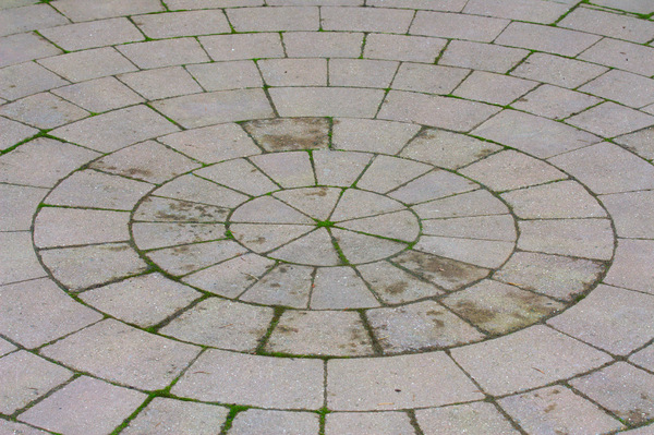Circular pavement: Blocks forming a circular paved area