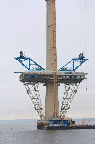 Bridge Towers Construction: Bridge towers on the Forth Replacement Crossing (Queensferry Crossing) under construction near Edinburgh, Scotland