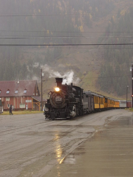 Train's a comin!: The Durango-Silverton Narrow-gauge railroad in a light autumn storm.