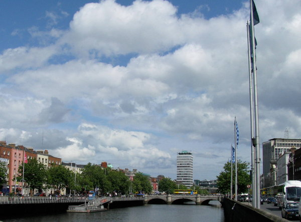 Dublin: A summer day over the River Liffey in Dublin, Ireland. July 2009.