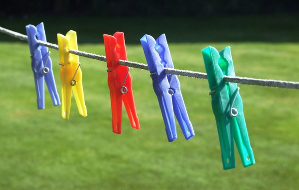 Pegs: Colourful Pegs on a washing line