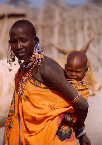 africa: Masai Woman with children