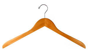 Clothes Hanger: A clothes hanger isolated on a white background.