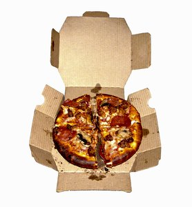 Pizza Delivery: Your standard pizza delivered in a box.