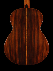 Back of Custom Guitar: Indian rosewood in red on the back of a custom guitar.