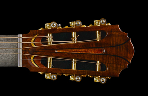 Custom Guitar Head on Black: The head of a hand made guitar by my friend Jamin Chepernich of chepernichguitars.com