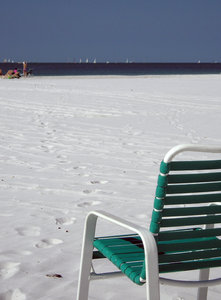 Beach Chairs: Beach chairs on white sandy beach