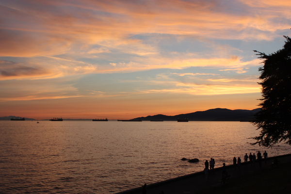 sunset,english bay: seawall , ocean sky