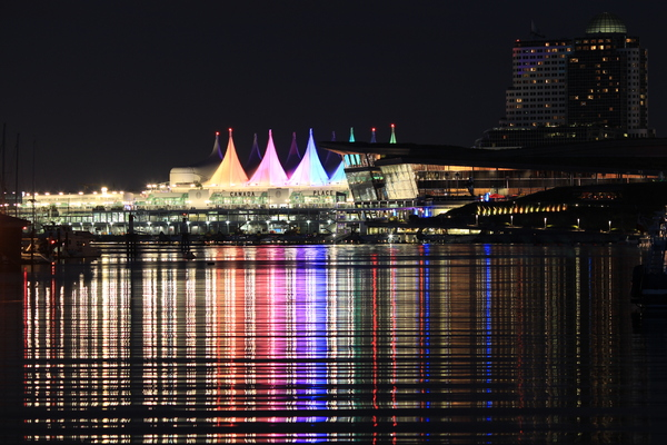 canada place: water reflection
