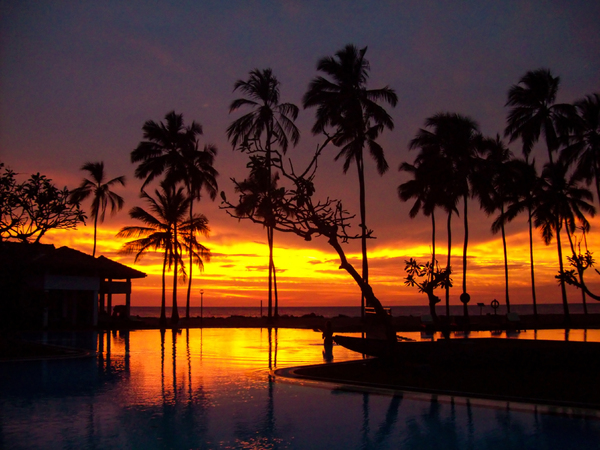 Sunset in Sri Lanka: Sunset viewed from resort in Sri Lanka