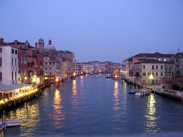 Venice at Dusk: On the bridge by the railway station before heading home.