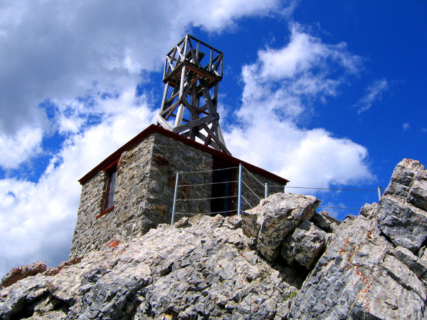 Storm Watcher: Photo taken in Banff Alberta. This structure is on top of a mountain and was actually used to watch the weather a long time ago.