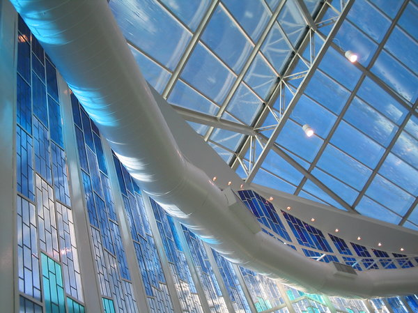Blue chapel 3: Inside the chapel of the Lutheran University of Brazil, city of Canoas, RS
