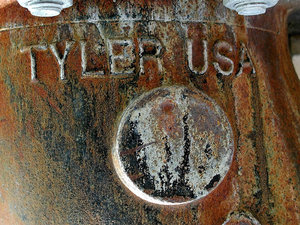 Tyler USA: Tyler USA on a water pipe.