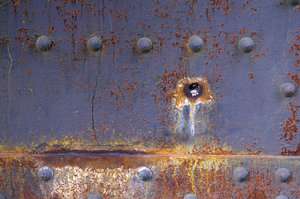 Rivets and rust: Rivets and rust on a bridge in Cleveland, Ohio.