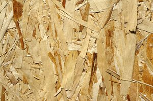 OSB wood panel: Oriented strand board texture.