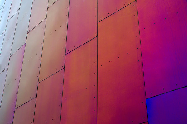 Panes of color: Windows on a building at the Experience Music Project in Seattle, Washington, designed by architect Frank Gehry.