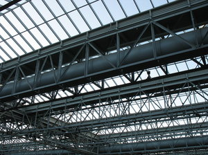 glass and steel: a roof of steel girders and glass.