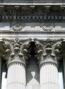 capitals: classical carved stone columns and capitals.