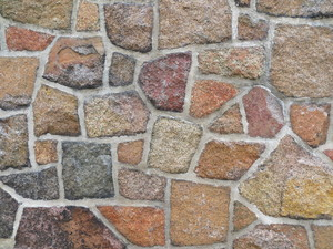 stonework: mortared stonework wall