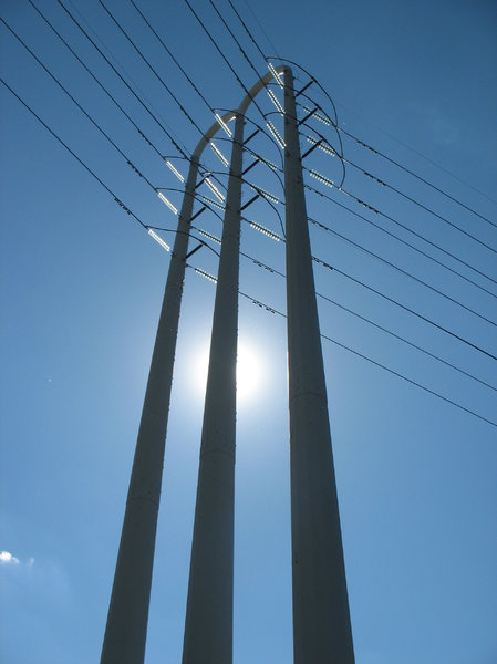 electrical tower: electrical tower and wires