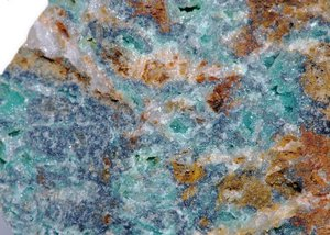 Variscite with quartz and limo: Variscite with quartz and limonite   Hydrous aluminum phosphate   Slate Mountains   El Dorado County   California   USA   6618.jpg