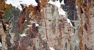 Rock Snow 4: these are images taken with snow on rock faces.  These are all  granite rock taken in northern Ontario, Canada.  Roughly around the North Bay area.